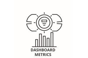 Dashboard metrics line icon concept