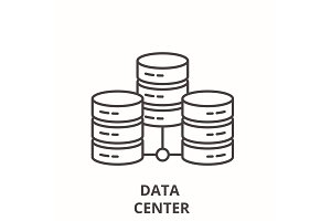Data center line icon concept. Data