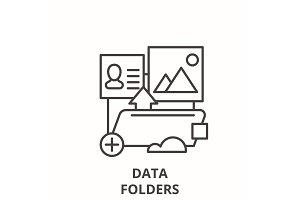 Data folders line icon concept. Data
