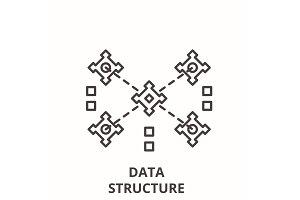 Data structure line icon concept
