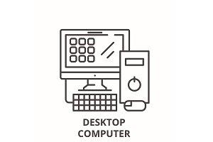 Desktop computer line icon concept