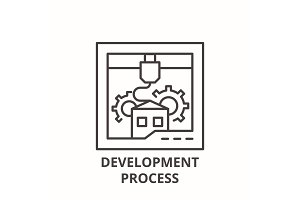 Development process line icon