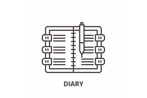 Diary line icon concept. Diary