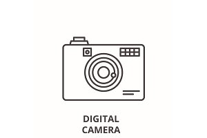Digital camera line icon concept