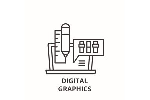 Digital graphics line icon concept