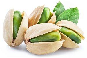 Green pistachio nuts with pistachio