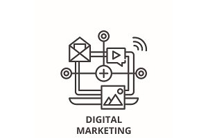 Digital marketing line icon concept