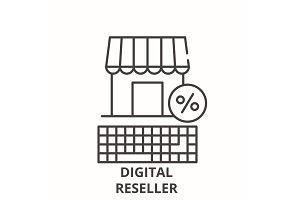 Digital reseller line icon concept