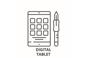 Digital tablet line icon concept