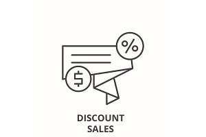 Discount sales line icon concept