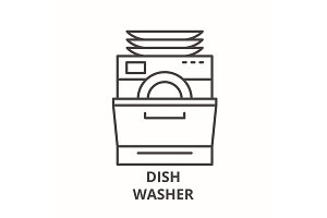 Dish washer line icon concept. Dish