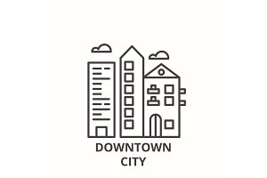 Downtown city line icon concept