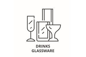 Drinks glassware line icon concept