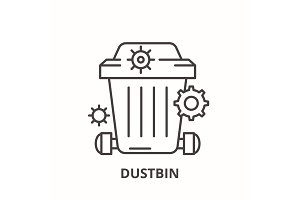 Dustbin line icon concept. Dustbin