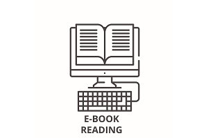 E-book reading line icon concept. E