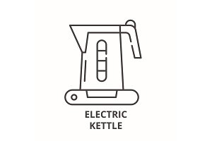 Electric kettle line icon concept