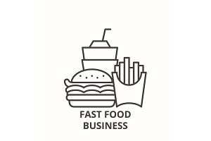 Fast food business line icon concept