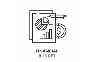 Financial budget line icon concept