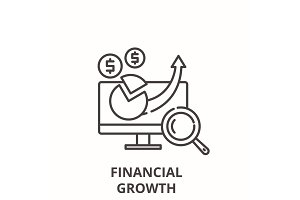 Financial growth line icon concept