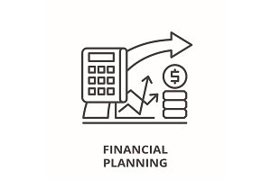 Financial planning line icon concept
