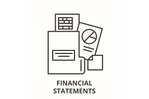 Financial statements line icon