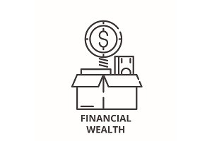 Financial wealth line icon concept