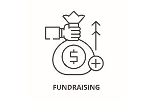 Fundraising line icon concept