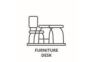 Furniture desk line icon concept