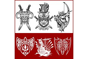 Set of viking emblems, labels and