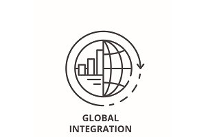 Global integration line icon concept