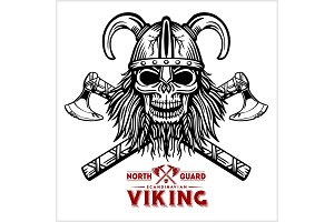 Skull Viking Crossed Axe