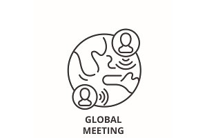 Global meeting line icon concept