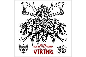 Viking warrior with big crossed axes