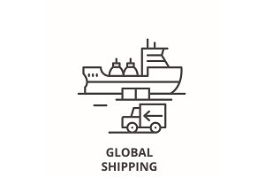 Global shipping line icon concept