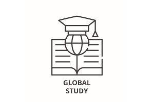 Global study line icon concept