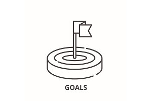 Goals line icon concept. Goals