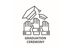 Graduation ceremony line icon