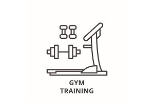 Gym training line icon concept. Gym