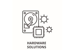 Hardware solutions line icon concept