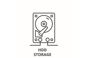 Hdd storage line icon concept. Hdd