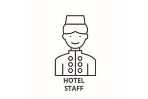 Hotel staff line icon concept. Hotel