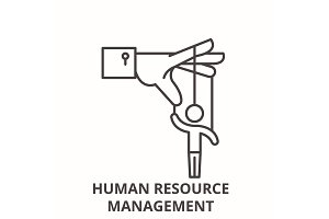 Human resource management line icon