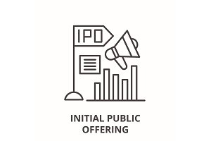 Initial public offering line icon