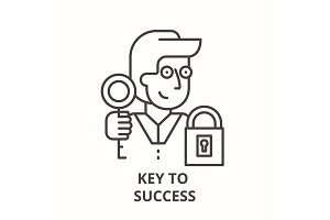 Key to success line icon concept