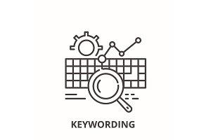Keywording line icon concept