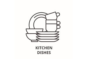 Kitchen dishes line icon concept