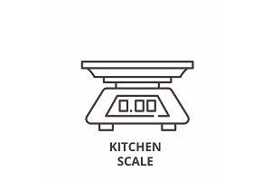 Kitchen scale line icon concept