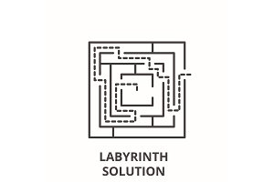 Labyrinth solution line icon concept