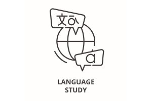 Language study line icon concept