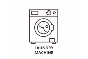 Laundry machine line icon concept